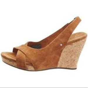 Ugg Suede Slingback Cork Wedge Sandals.